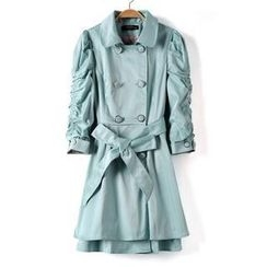 9mg - Ruched-Sleeve Double-Breasted Trench Coat
