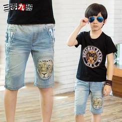 三零九班 - 小童印花牛仔短褲
