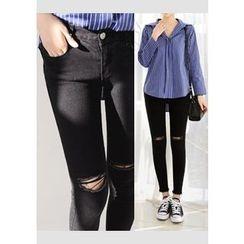 DEEPNY - Slit-Trim Skinny Pants