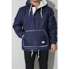 Ohkkage - Half Zip-Up Fleece-Lined Washed Denim Hoodie Jacket