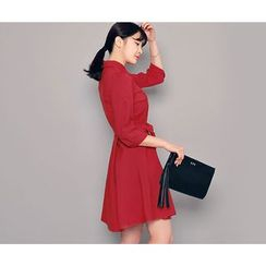 HOTPING - 3/4-Sleeve Shirtdress With Sash