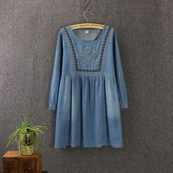 Blue Rose - Embroidered Yoke Long-Sleeve Denim Dress