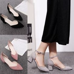 Yoflap - Chunky Heel Pointy Pumps