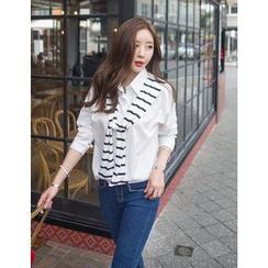 GUMZZI - Inset Striped Top Cotton Shirt
