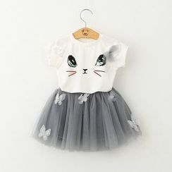 Cuckoo - Kids Set: Cat Face Print Short Sleeve T-Shirt + Tutu Skirt