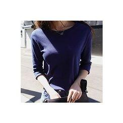 CHERRYKOKO - 3/4-Sleeve Cotton T-Shirt