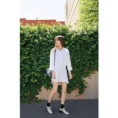 CHERRYKOKO - Dip-Back Cotton Shirtdress