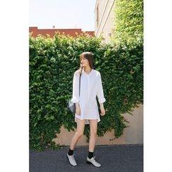 CHERRYKOKO - Dip-Back Cotton Shirtdress