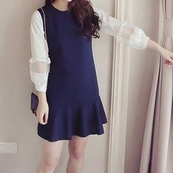 ANGELA - Long-Sleeve Mock Two Piece Ruffle Dress