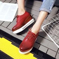 JY Shoes - Platform Hidden Wedge Oxfords