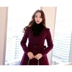 Marlangrouge - Collarless Wool Blend Coat with Belt