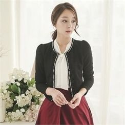ode' - Open-Front Faux-Pearl Trim Cardigan