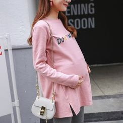Oulimom - Maternity Lettering Embroidered Long Pullover