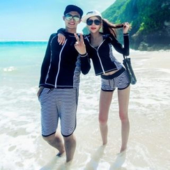 Anfory - Couple Matching Set: Stripe Rashguard + Swim Shorts