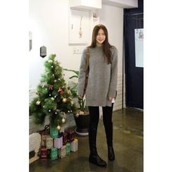CHERRYKOKO - Slit-Side Wool Blend Sweater
