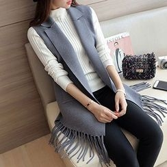 Ageha - Fringed Notch Lapel Knit Vest