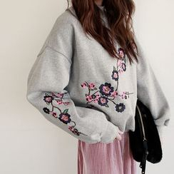 NIPONJJUYA - Flower-Embroider Brushed-Fleece Lined Sweatshirt