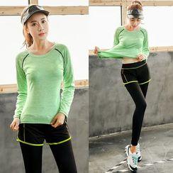 PUDDIN - Set: Long-Sleeve Sport T-Shirt + Leggings Inset Sport Shorts