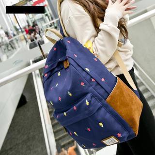 VIVA - Floral Print Canvas Backpack