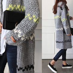 NIPONJJUYA - Stripe Wool Long Chunky-Knit Cardigan