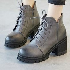Ammie - Block Heel Lace Up Short Boots
