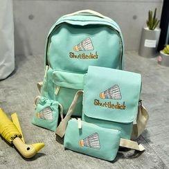 Golden Kelly - Set of 4: Printed Canvas Backpack + Shoulder Bag + Pouch + Drawstring Bag