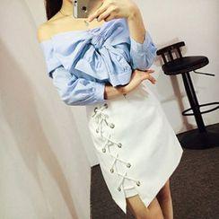 Apalili - Set: Striped Bow Off-Shoulder Blouse + Lace-Up A-Line Skirt