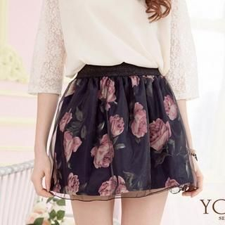 Tokyo Fashion - Floral Tulle A-Line Skirt