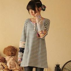 Moriville - Patchwork Striped Long-Sleeve Top