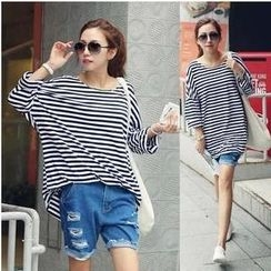 Love Seoul - Dolman-Sleeve Striped T-Shirt