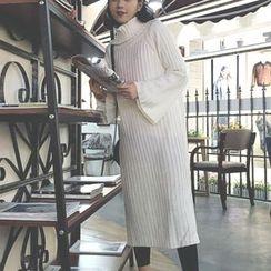 Alfie - Plain Loose-Fit Turtleneck Knit Dress