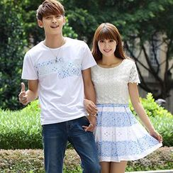Igsoo - Couple Print Panel T-Shirt / A-Line Dress