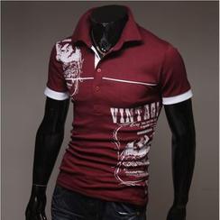 WIZIKOREA - Printed Polo Shirt