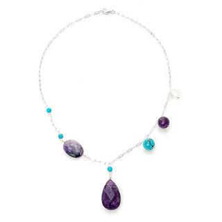 Keleo - Silver turqoise, amethyst, clear quartz necklace