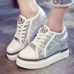 Max Dash - Glitter Hidden Wedge Sneakers