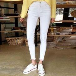 QNIGIRLS - Fray-Hem Skinny Pants