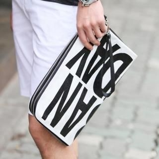 HI-MAN - Lettering Print Zipper Clutch