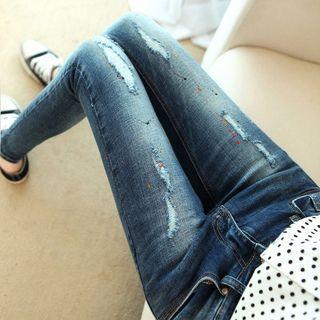 Nassyi - Paint Splattered Distressed Skinny Jeans