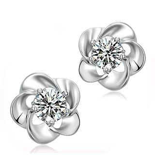 BELEC - 925 Sterling Silver with White Cubic Zirconia Flower Stud Earrings