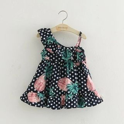 Seashells Kids - Kids Pineapple Print Dotted One Shoulder Dress