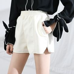 HORG - Elastic Waist Faux Leather Shorts