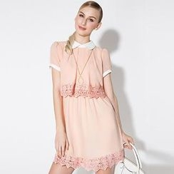 O.SA - Lace-Trim A-Line Dress