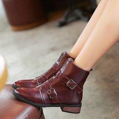 幸福鞋坊 - 扣帶短靴