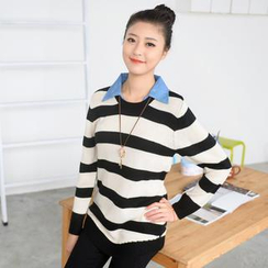 59 Seconds - Mock Two-Piece Striped Sweater