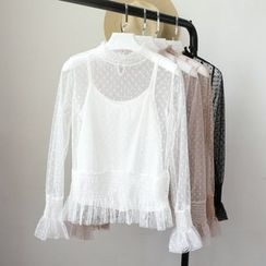 Phantasy - Set: Long-Sleeve Lace Top + Camisole
