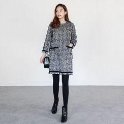 Seoul Fashion - Fringe-Trim Zip-Back Shift Dress