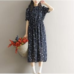 Clover Dream - Long-Sleeve Floral Chiffon Midi Dress