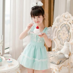 Candy Rain - Kids Short-Sleeve Tie Waist Dress