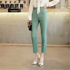 CHICLINE - Flat-Front Dress Pants