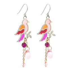 Fit-to-Kill - Pink Glitter Bird Earrings